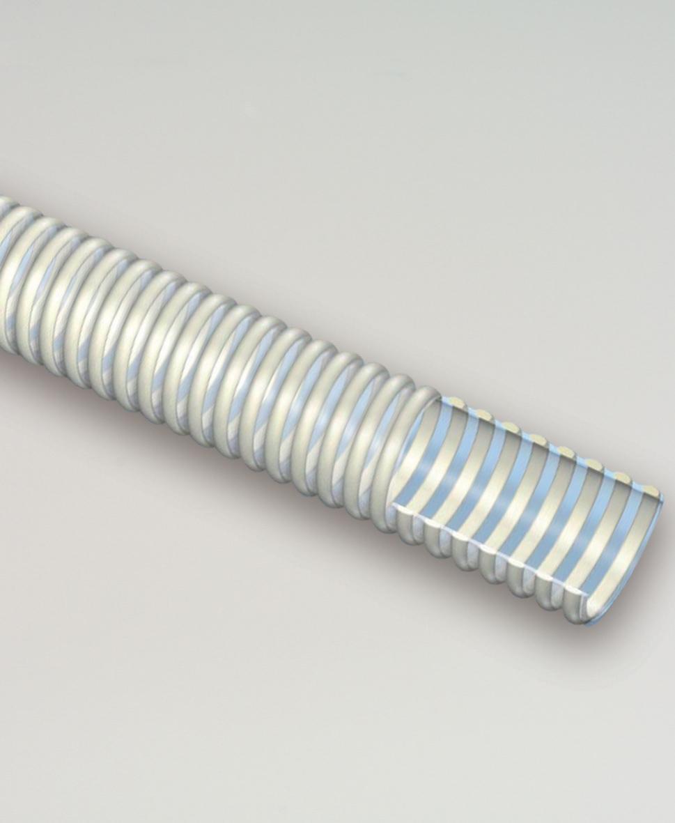 Furtun transparent din PVC cu spira alba 152 mm (5m)