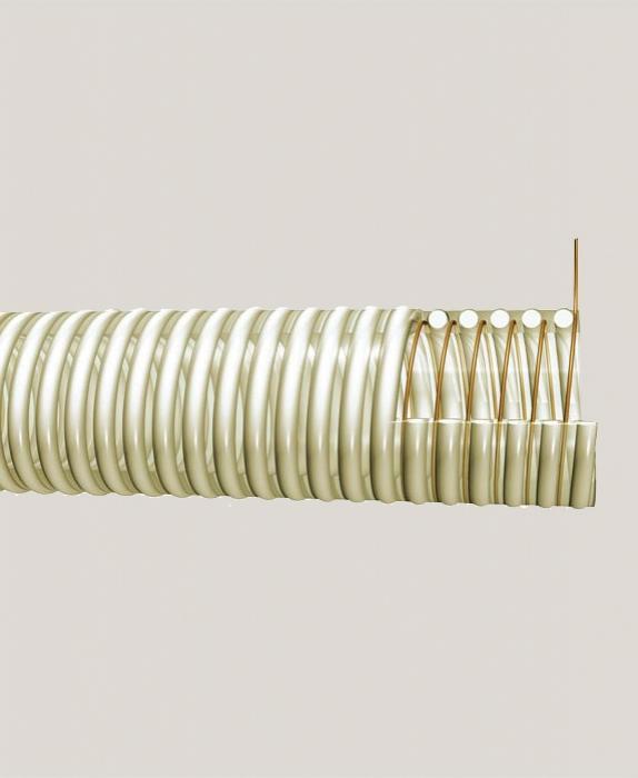 Furtun poliuretan cu spira PVC si fir antistatic 120 mm